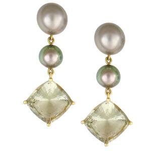 18K Yellow gold, tahitian pearls, green amethyst prassiolite