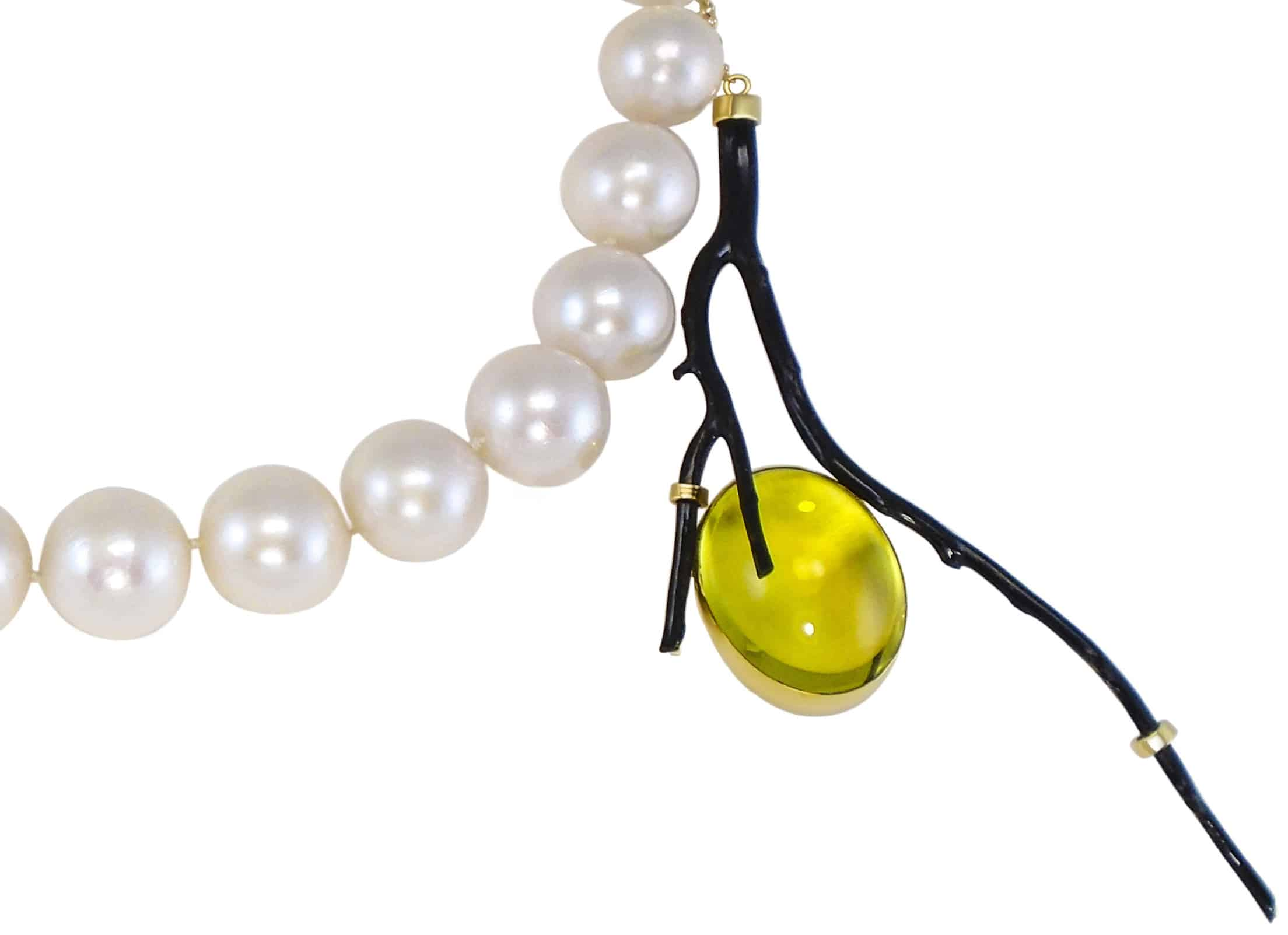necklace, pearl, coral, citrine, gold, lemon, white, black