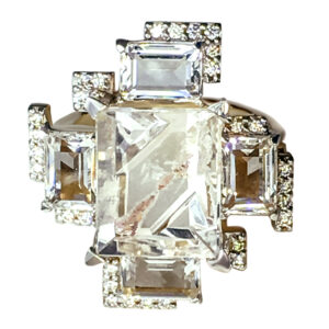 18K Yellow Gold, Phantom Quartz Munsteiner Cut, Rock crystal, Diamonds
