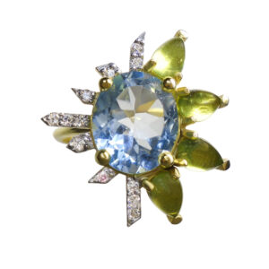 ring, topaz, peridot, diamonds, gold, blue, green