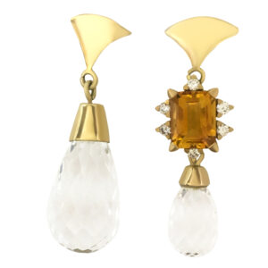 earrings, gold, citrine, diamonds, quartz, yellow, white, transparent, asymmetric