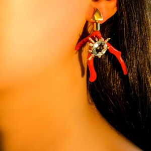 earrings, removable, adjustable, asymmetric, coral, gold, topaz, diamonds, blue, red, handmade