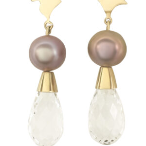 earrings, gold, pearl, quartz, Edisson, pink, crystal