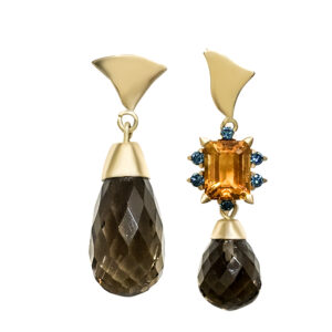 earrings, gold, smoky quartz, citrine, blue diamonds