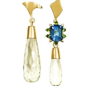 earrings, gold, topaz, blue diamond, prassiolite, green, blue