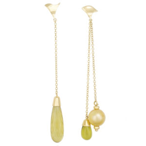 earrings, asymmetric, citrine, pearl, yellow