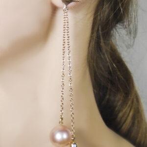earrings, gold, quartz, pearl, pink, asymmetric