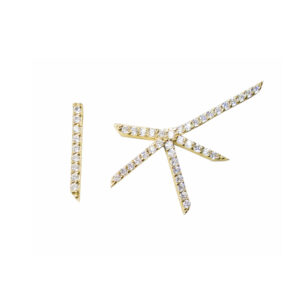 symmetric, earrings, gold, diamonds