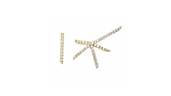 symmetric, earrings, gold, diamonds