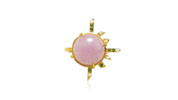pink explosion, gold, kunzite, opal, tsavorites, diamondsl,