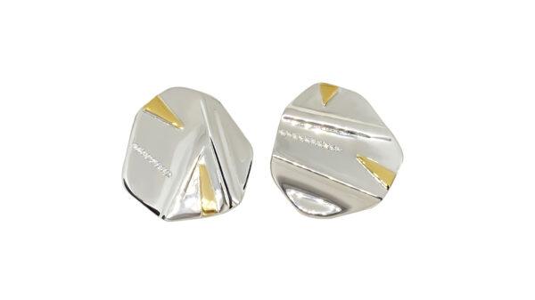 silver, gold, earrings, diamonds