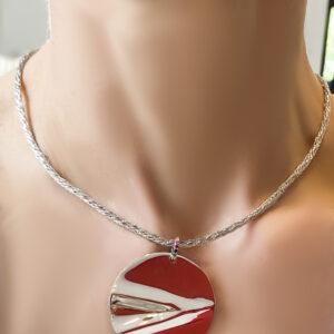 silver, sapphires, pendant, rainbow