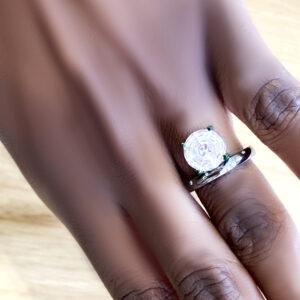 ring, silver, diamonds, clear quartz, fancy cut