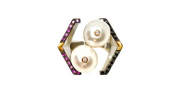 silver, gold, black diamonds, pink sapphires, pearls, white diamonds
